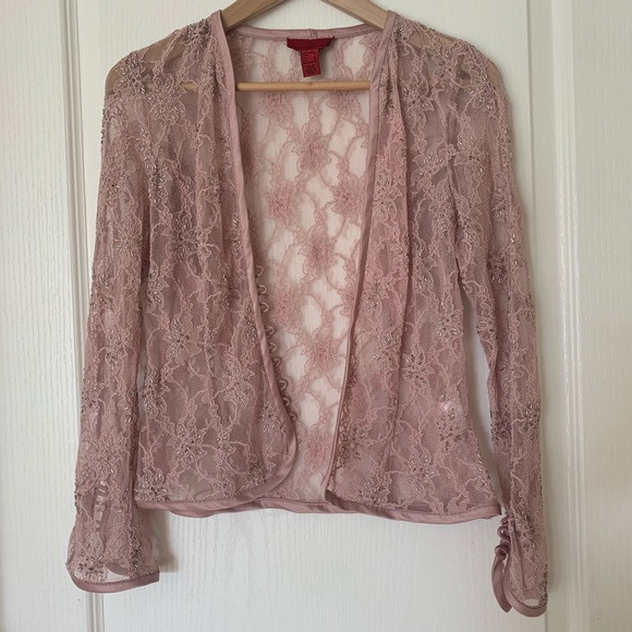 JS Collections Jackets & Blazers - Pink Lace Shrug/Bolero Jacket
